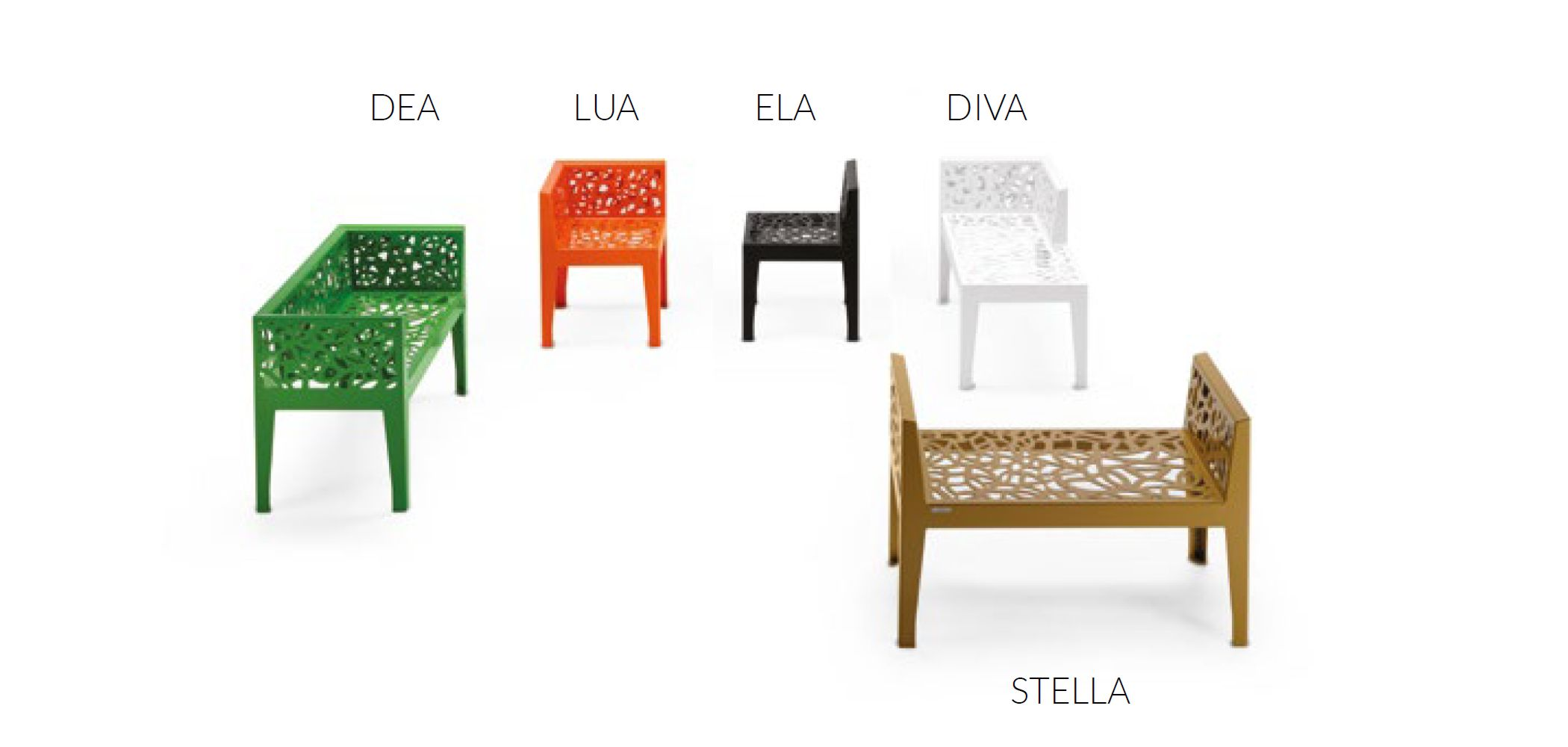 CORTEN STYLE + COLOR STYLE BENCHES
