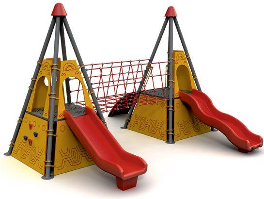 Grup de joaca – Tobogan DUBLU piramida si rampa urcare