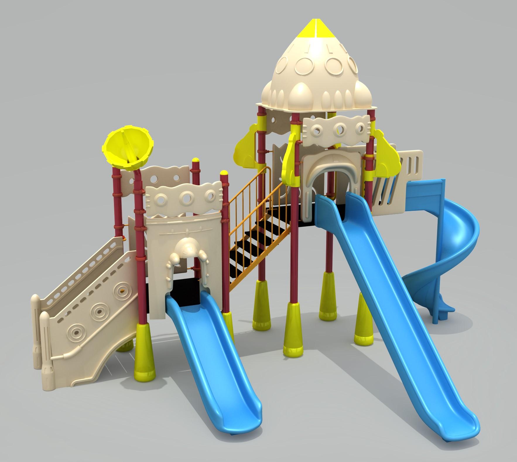 Grup de joaca TEMATICA SPATIU – 2 TURNURI SI 3 TOBOGANE